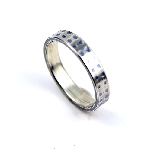 dotted sterling silver wedding band or everyday ring