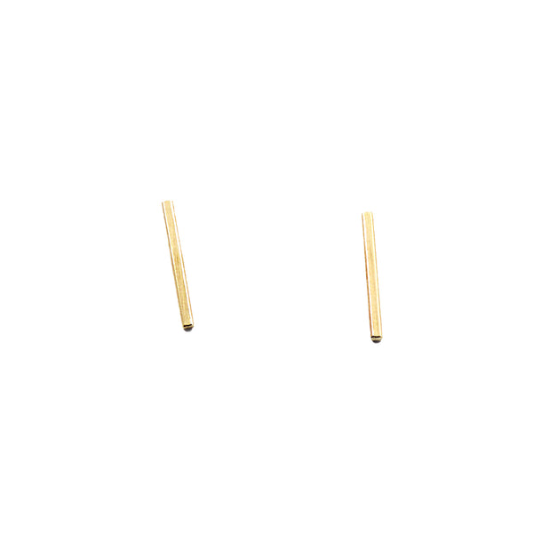 14 karat gold bar earrings