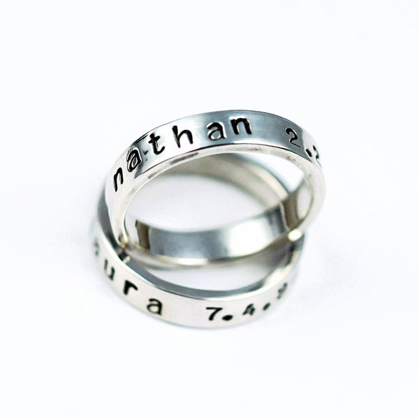 stamped rings for mom