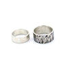 silver wedding band for him and her