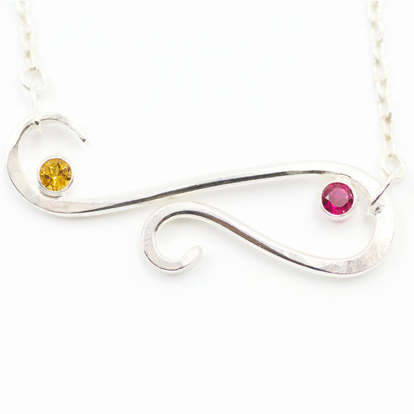Custom and personalized birthstone necklace for mom.