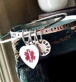 medical alert bracelet bangle bracelet custom medical alert bracelet for her