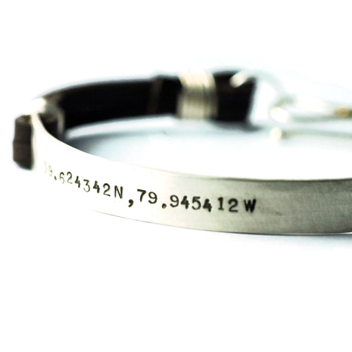 mens leather and silver cuff bracelet custom personalized