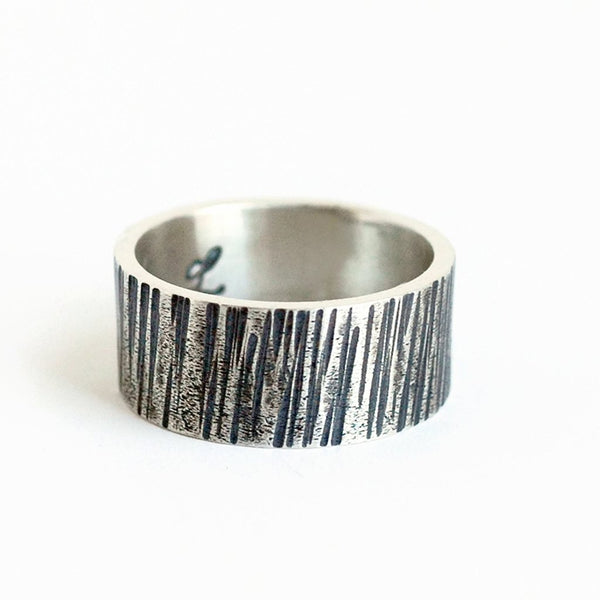 mens rustic woodgrain textured wedding band ring