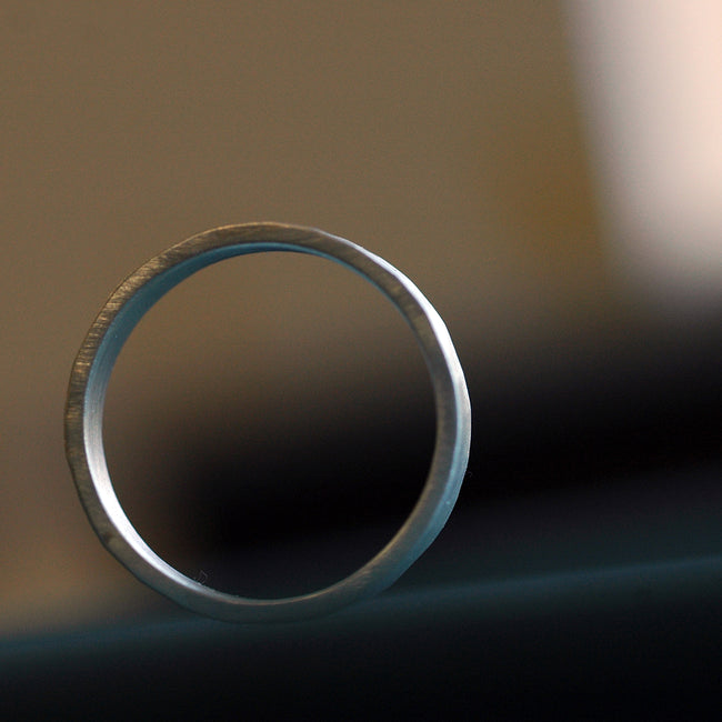 silver hammeted wedding band