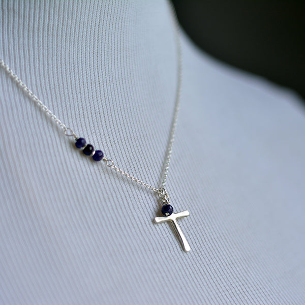 silver cross necklace accented with genuine sapphire beads.silver cross necklace baptism confirmation jewelry