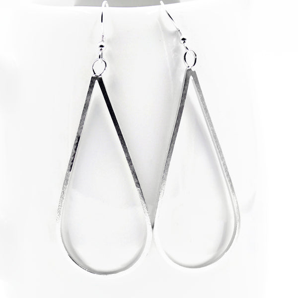 large silver teardrop dangle earring