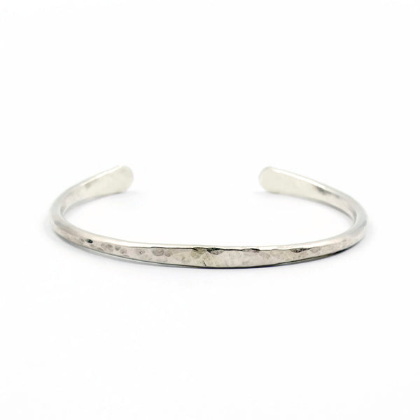 sterling silver hammered cuff bracelet, handcrafted