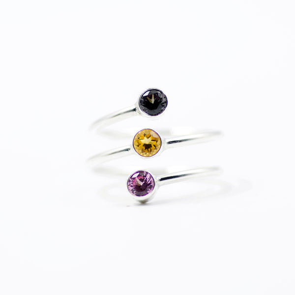 triple stone birthstone ring