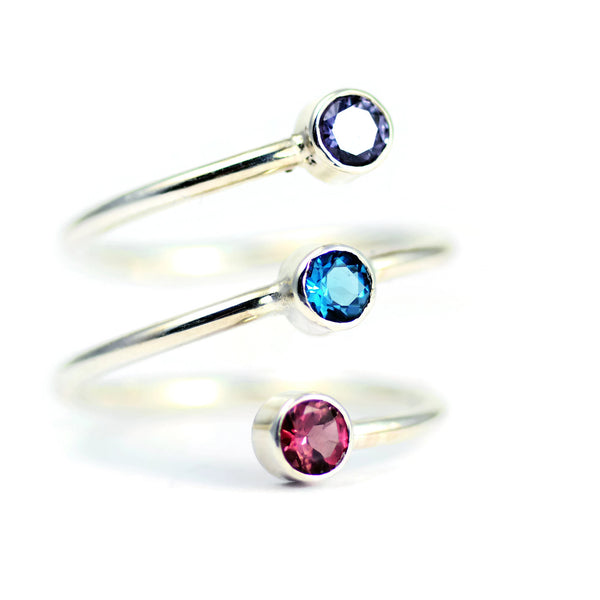 birthstone ring for mom - three birthstone ring