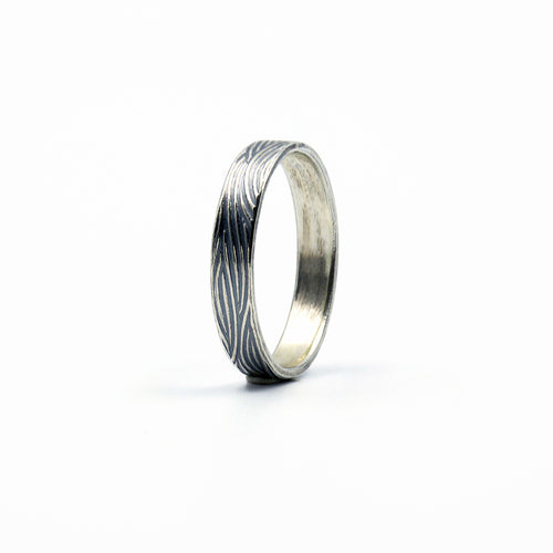 sterling silver textured wedding band for him or her