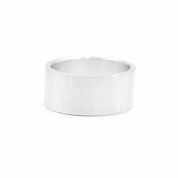 mens hammered wide wedding band