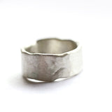 mens rustic wide hand formed wedding band ring