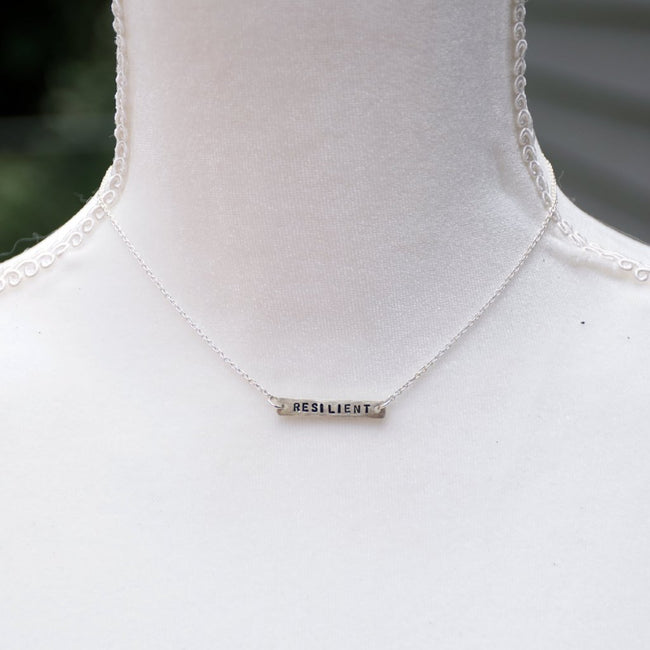 personalized custom word necklace on silver chain