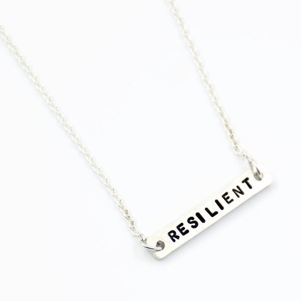silver personalized single word necklace