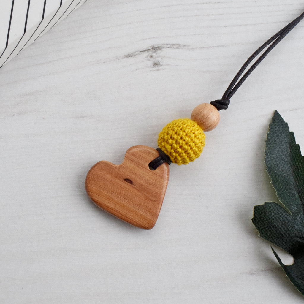 Grey Yellow Teal Nursing Juniper necklace with wooden pendant,Wooden Teether