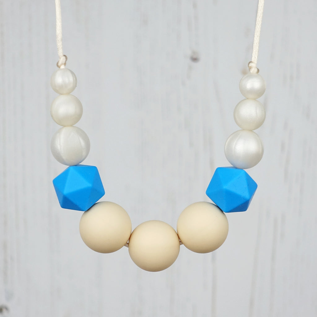 Blue Coffee Cup Swaddle & Teething Necklace Gift Set
