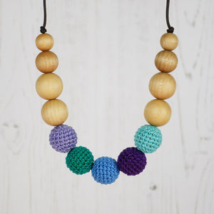 Denali: Alpine Air Wooden Teething Necklace, Beech - Pebbles and Lace