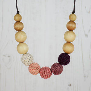 Kilimanjaro : Alpine Air Wooden Teething Necklace, Beech - Pebbles and Lace