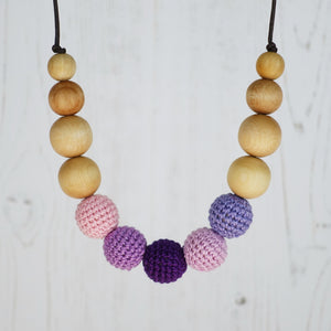 Fuji: Alpine Air Wooden Teething Necklace, Beech - Pebbles and Lace