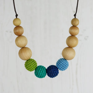 Meribel: Snowscape Wooden Teething Necklace, Beech - Pebbles and Lace