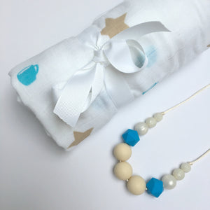 Blue Coffee Cup Swaddle & Teething Necklace Gift Set - Pebbles and Lace