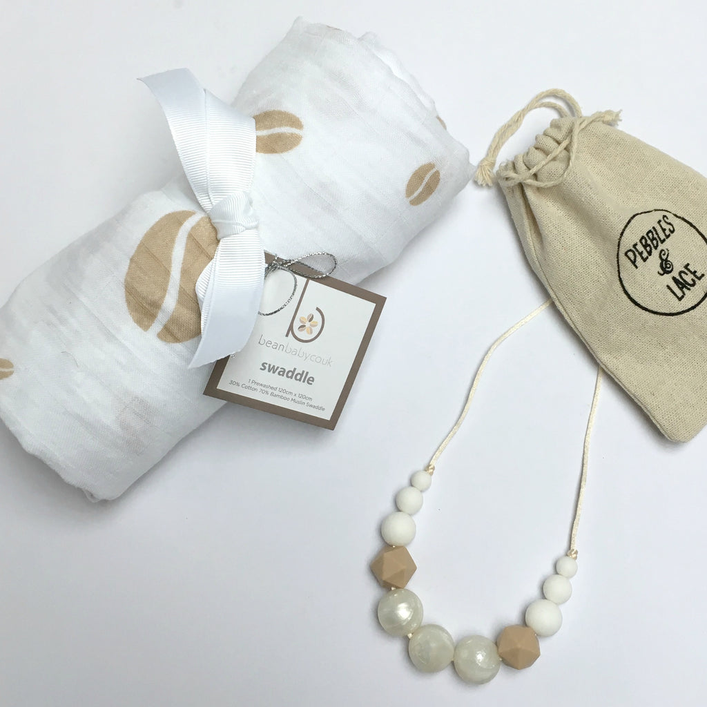 Coffee Bean Swaddle & Teething Necklace Gift Set