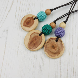 Monteverdi: Baroque Wooden Teething Necklace, Juniper - Pebbles and Lace
