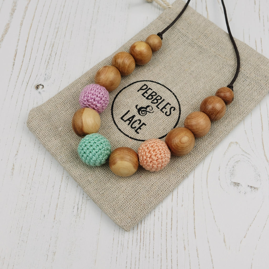 Juliet: Fair Play Wooden Teething Necklace, Juniper