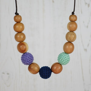 King Lear: Fair Play Wooden Teething Necklace, Juniper - Pebbles and Lace