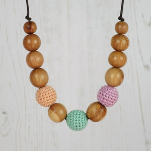 Juliet: Fair Play Wooden Teething Necklace, Juniper - Pebbles and Lace
