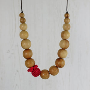 Thames: Freshwater Wooden Teething Necklace - Pebbles and Lace