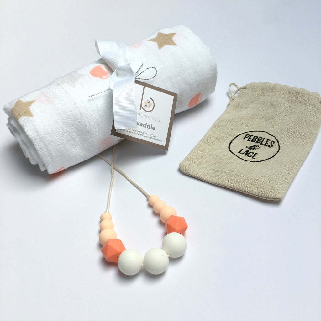 Coral Coffee Cup Swaddle & Teething Necklace Gift Set