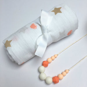 Coral Coffee Cup Swaddle & Teething Necklace Gift Set - Pebbles and Lace