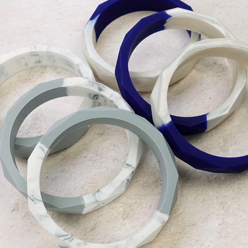 Exclusive Two-Tone Geometric Silicone Teething Bangle