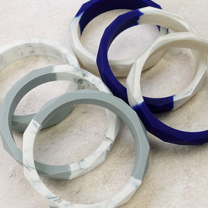 Exclusive Two-Tone Geometric Silicone Teething Bangle - Pebbles and Lace
