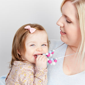 Cerise Skies: Woven Teething Necklace - Pebbles and Lace