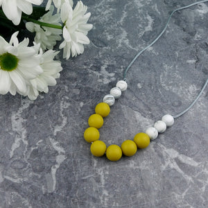 Mustard Marvel: Bubbles Teething Necklace - Pebbles and Lace