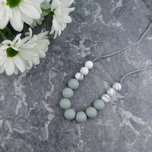Grey Clouds: Bubbles Teething Necklace - Pebbles and Lace