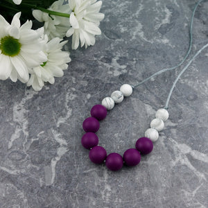 Plum Passion: Bubbles Teething Necklace - Pebbles and Lace