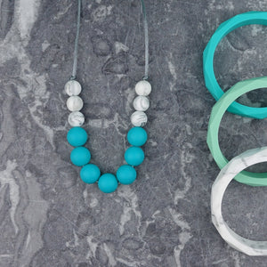 Teal Fancy: Bubbles Teething Necklace - Pebbles and Lace