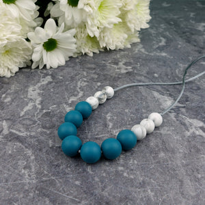 Deep Ocean: Bubbles Teething Necklace - Pebbles and Lace