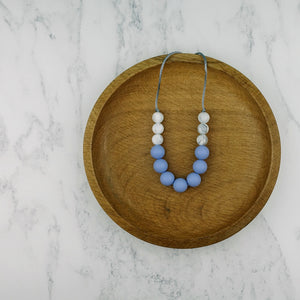 Cornflower Blue: Bubbles Teething Necklace - Pebbles and Lace