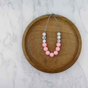 Rose Blush: Bubbles Teething Necklace - Pebbles and Lace