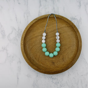 Mint Fizz: Bubbles Teething Necklace - Pebbles and Lace