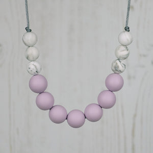 Lavender Love: Bubbles Teething Necklace - Pebbles and Lace