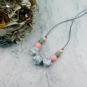 Rose Marble: Flora Teething Necklace - Pebbles and Lace