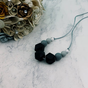 Midnight Petunia: Flora Teething Necklace - Pebbles and Lace