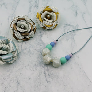 Periwinkle Pearl: Flora Teething Necklace - Pebbles and Lace