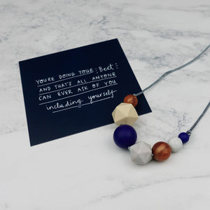 Malala: Inspirations Teething Necklace - Pebbles and Lace